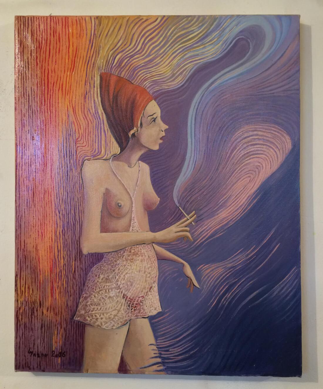 Ծխող կինը։ Հեղինակ՝ Պողոս Պետրոսյան