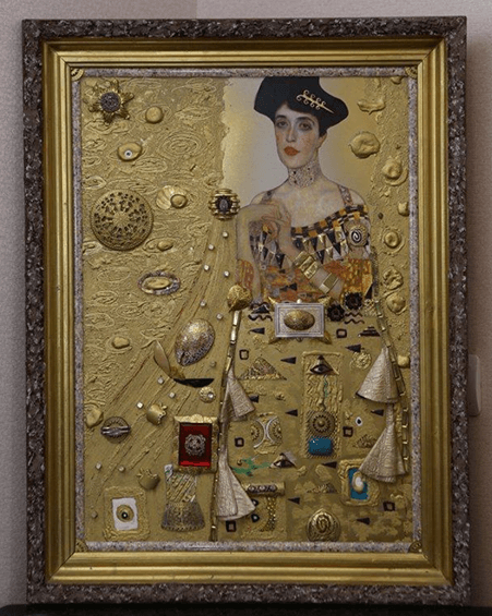 Collage-Assemblage Golden Adele /by Gustav Klimt/, by Edward Ter-Saakov