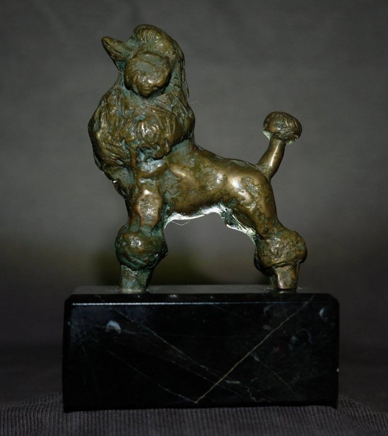 Bronze dog sculpture on labradorite base, by Samvel Kalashyan