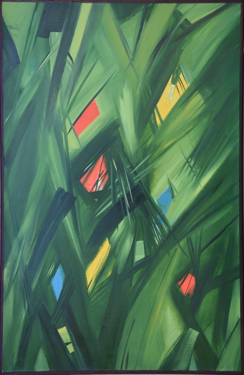 Green Abstraction by Hovhannes Aghekyan. Painting: Canvas / Oil Paint.