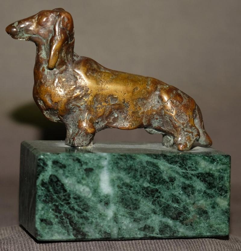 Fine Bronze Dog Sculpture On Granite Base, by Samvel Kalashyan