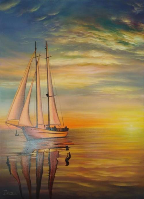 Sailboat in Sevan Lake, by Hamayak Gyogchyan