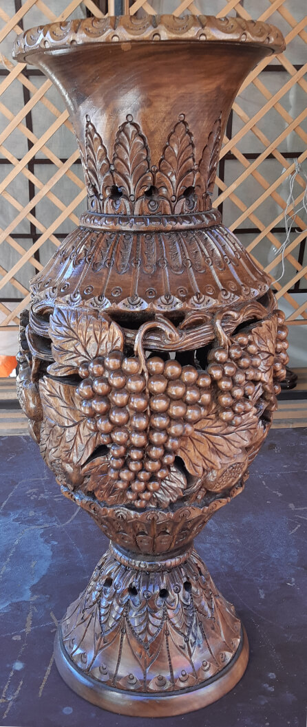 Wooden Vase with Carved Grapes