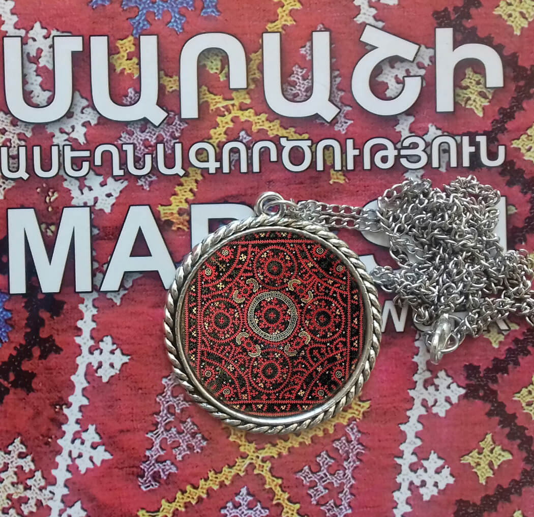 Necklace with Armenian rug ornaments, by Anna Harutunyan