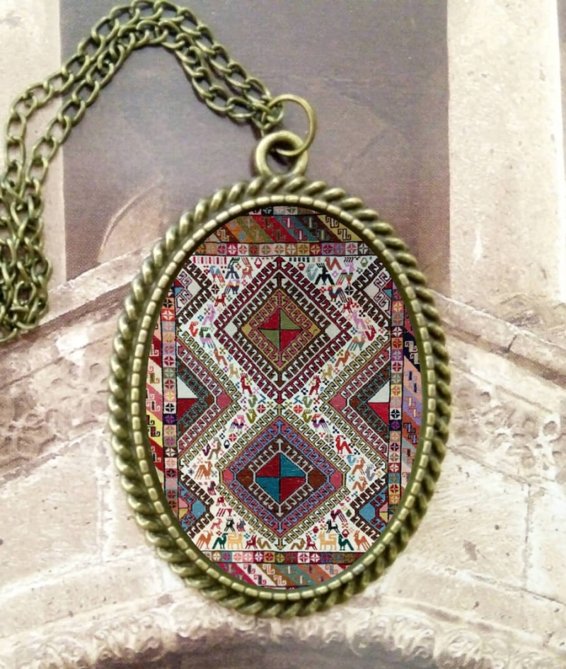 Necklace with Armenian rug ornaments, by Anahit Harutunyan