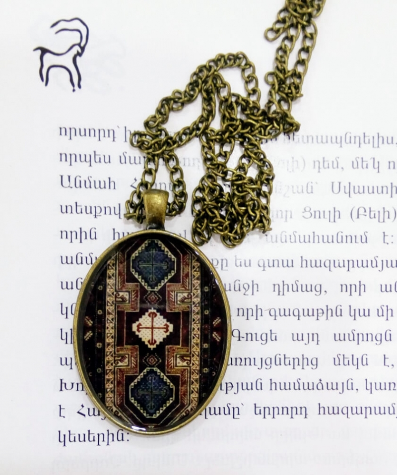 Necklace with Armenian rug ornaments, by Anahit Harutyunyan