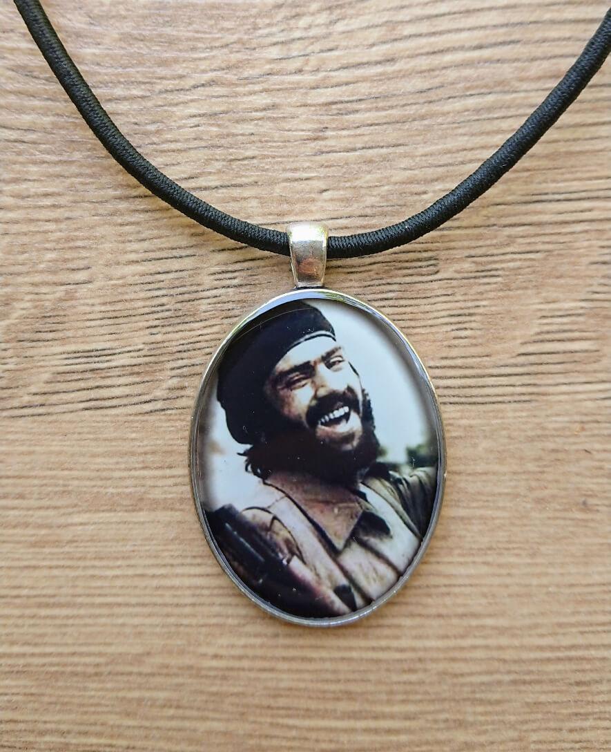 Oval glazed necklace with Lonely Wolf Arayik Khandoyan image, by Anahit Harutyunyan