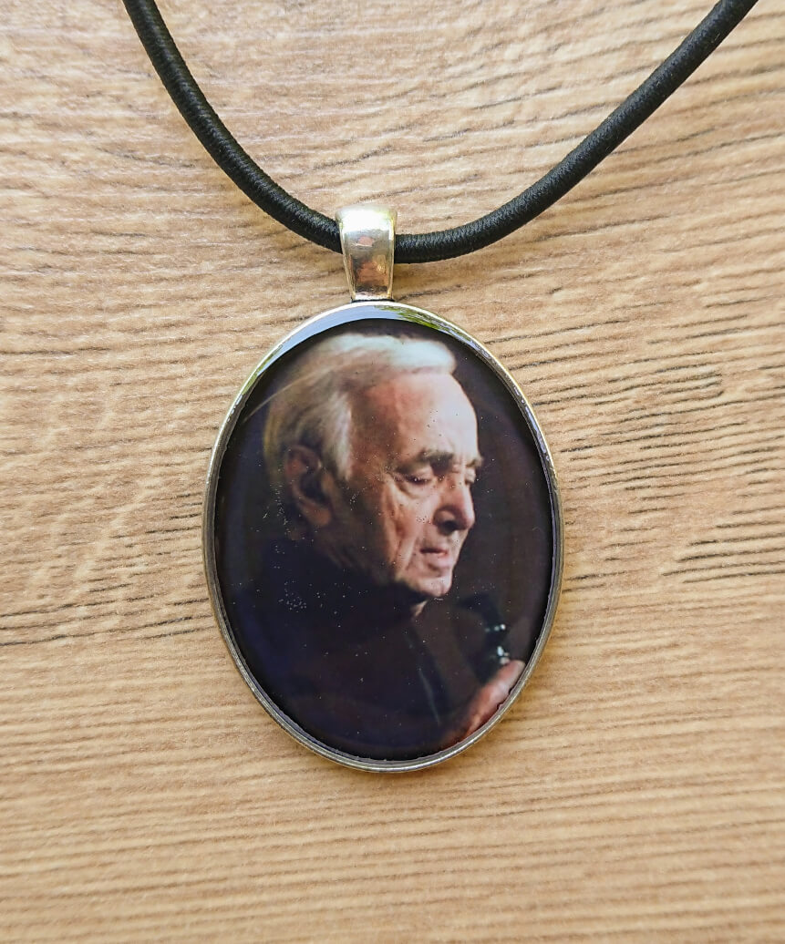 Oval glazed necklace with Charles Aznavour image, by Anahit Harutyunyan