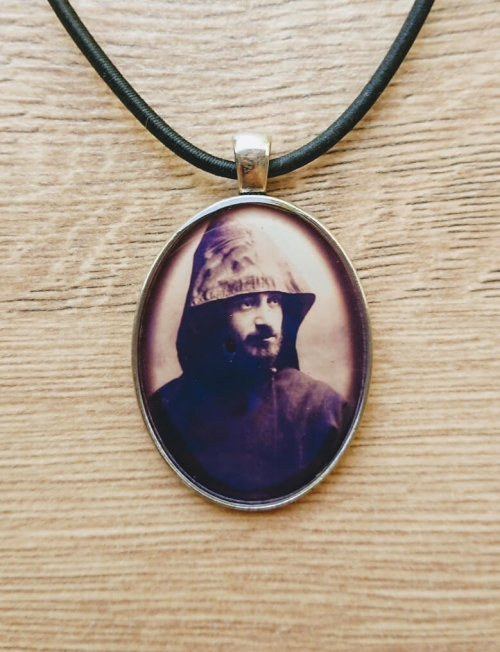 Oval glazed necklace with Komitas image, by Anahit Harutyunyan