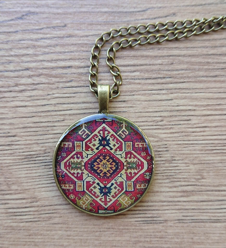 Rounded glazed necklace with Armenian ornaments, by Anahit Harutyunyan
