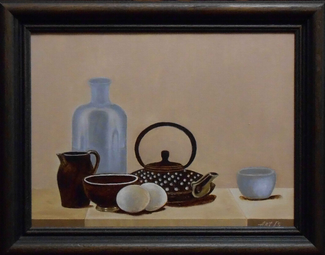 Still life with a coffee pot, kitchenware and eggs, by Artur Isayan