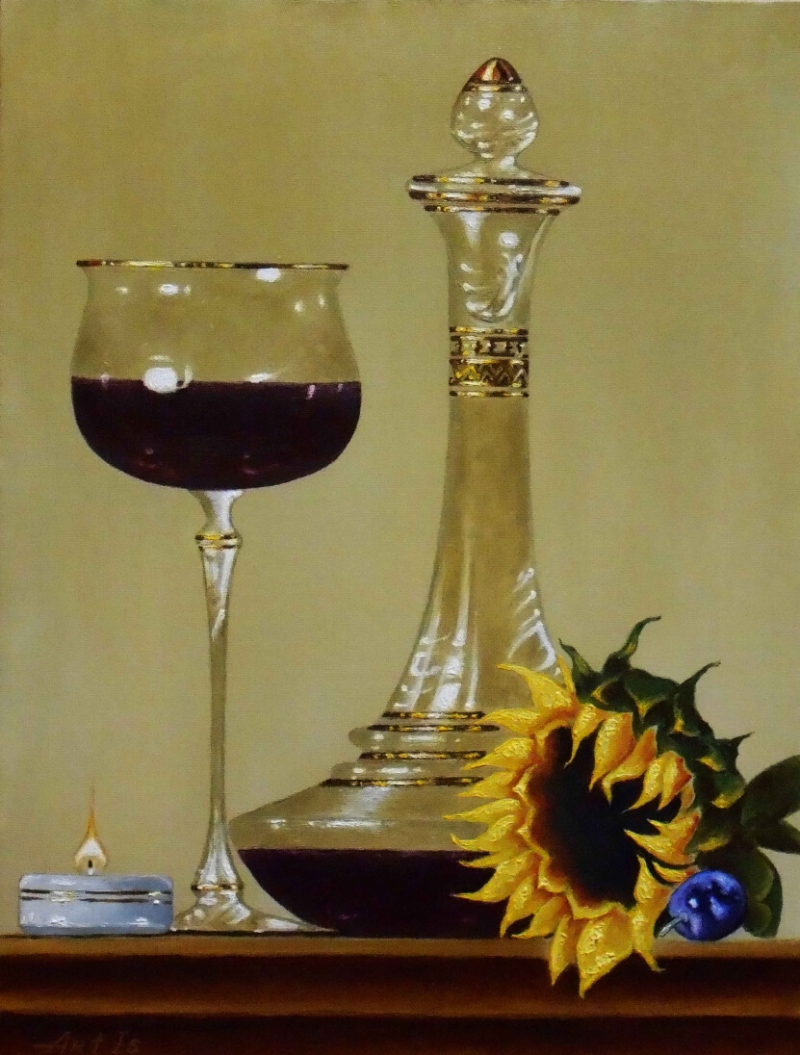 Still life with a red wine, by Artur Isayan
