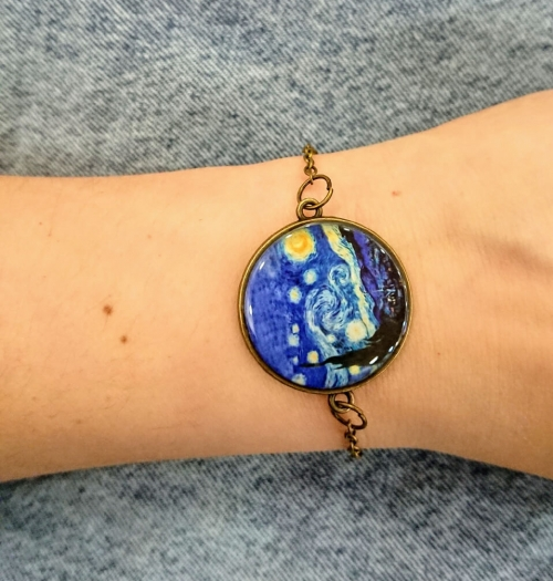 "Rounded glazed bracelet with the image of Van Gog's ""Starry Night"" canvas, by Anahit Harutyunyan"