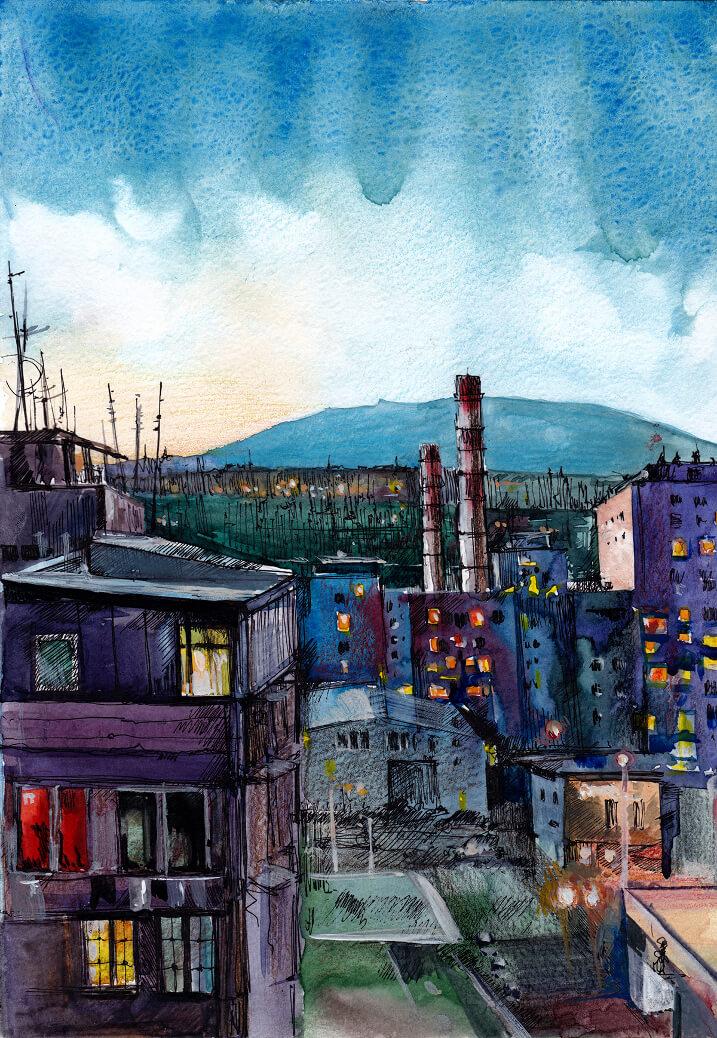 The City at Dusk, by Gayane Egiazaryan