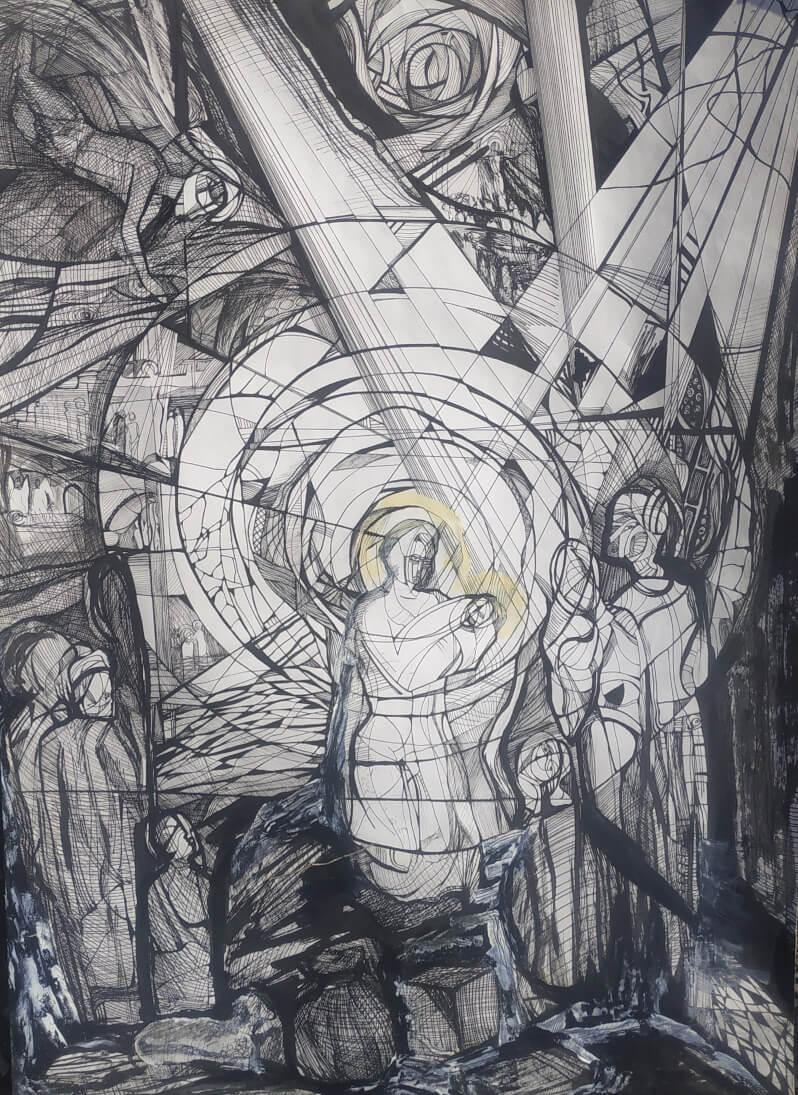 The Birth of Jesus, Painting by Sose Karakhanyan