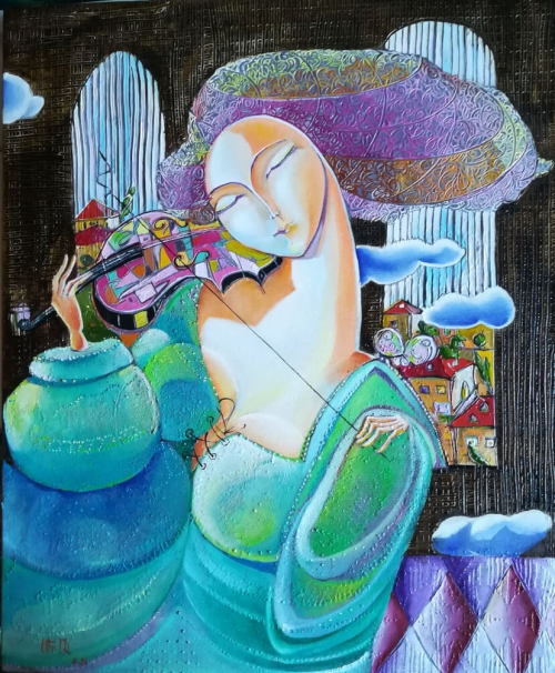«Ջութակահարուհին», յուղանկար, հեղինակ՝ Անահիտ Միրիջանյան