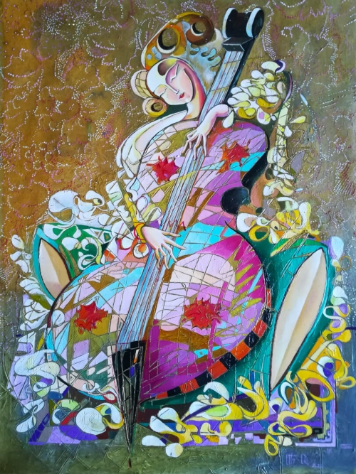 Violinist, painting by Anahit Mirijanyan