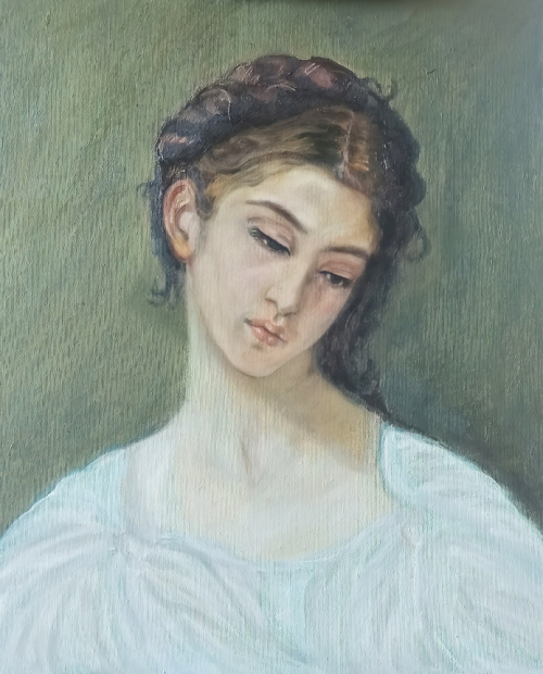Girl with Woven Hair, painting by Ofelya Baghdasaryan