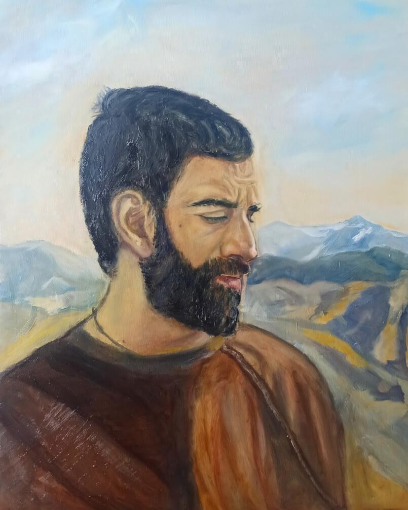 Portrait of a Man, painting by Ofelya Baghdasaryan
