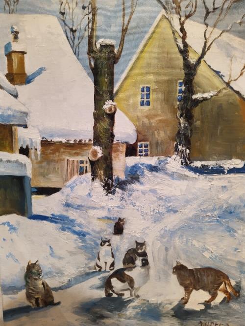 «Կատուներ», յուղանկար, հեղինակ՝ Նարեկ Ավանեսյան