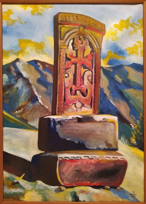 Armenian Cross Stone, painting by Narek Avanesyan