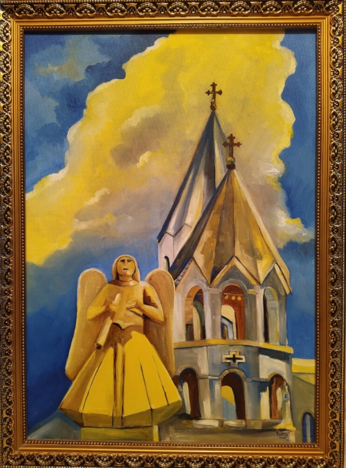 «Ղազանչեցոց եկեղեցին, Շուշի», յուղանկար, հեղինակ՝ Նարեկ Ավանեսյան
