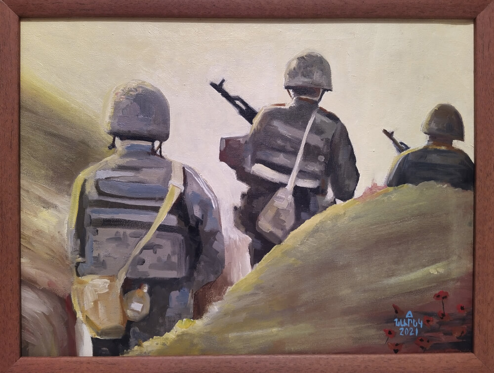 In the Frontlines, painting by Narek Avanesyan