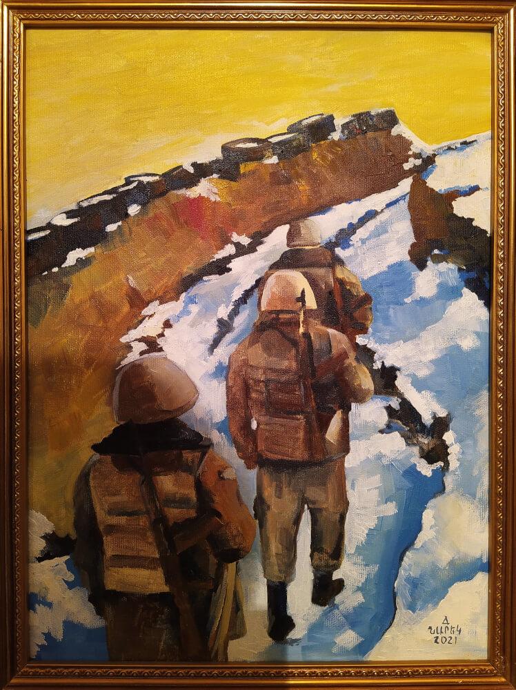 «Դիրքերում», յուղանկար, հեղինակ՝ Նարեկ Ավանեսյան