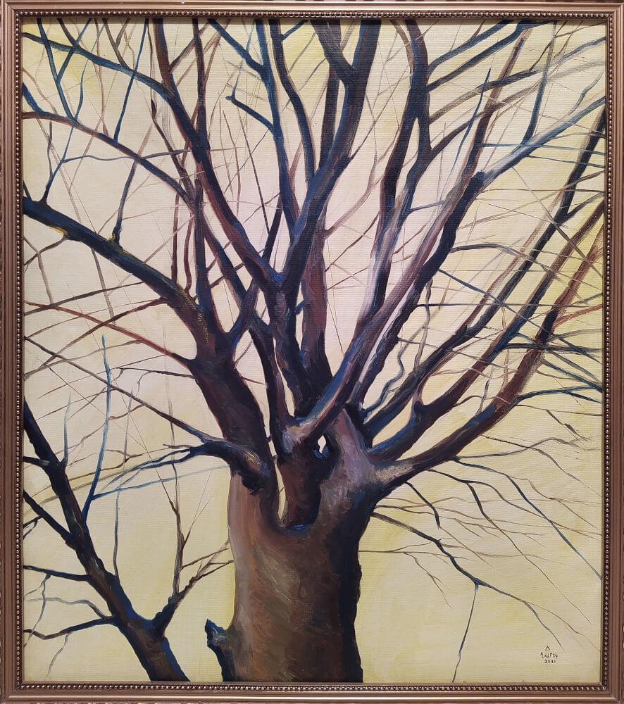 The Tree of Chartar Village, painting by Narek Avanesyan