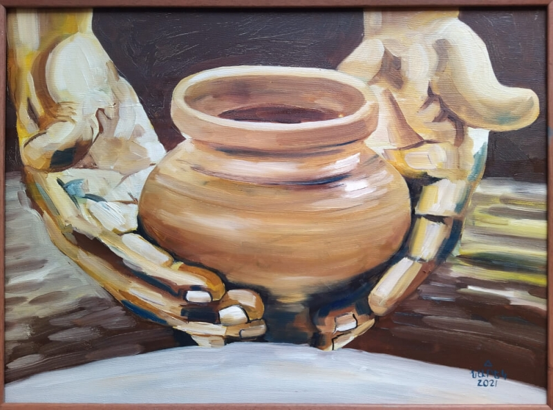 A Pot in the Palm, painting by Narek Avanesyan