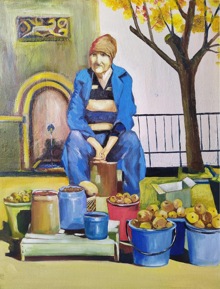 «Բերքավաճառք», յուղանկար, հեղինակ՝ Նարեկ Ավանեսյան