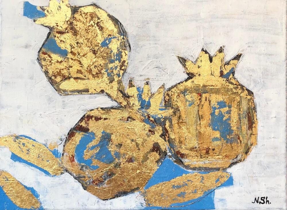 Golden Pomegranates, painting by Nune Shakhparonyan