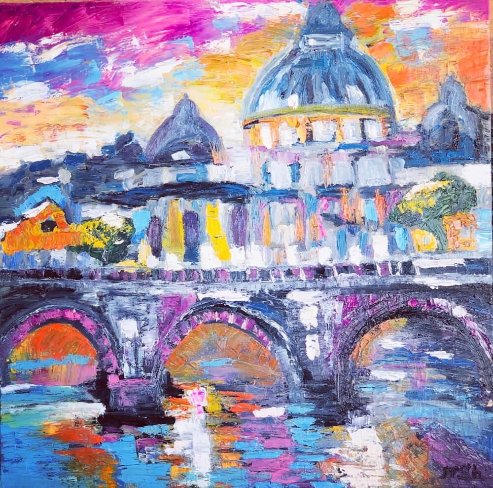 Sunset in Rome, painting by Nune Shakhparonyan