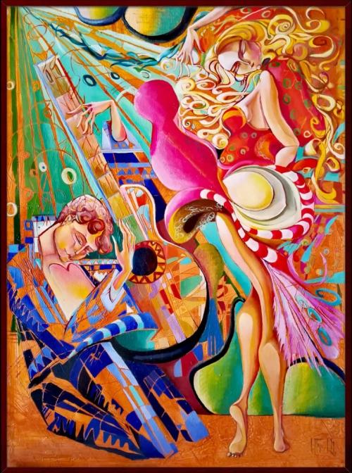 «Ֆլամինգո», յուղանկար, հեղինակ՝ Անահիտ Միրիջանյան