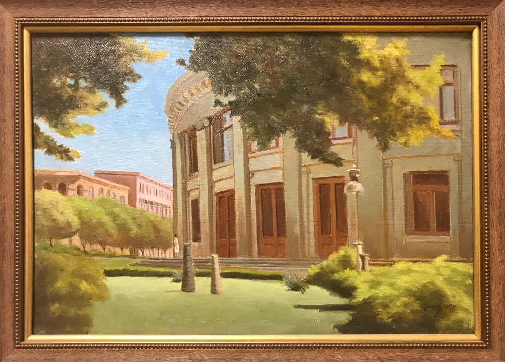 New Yerevan: The entrance of the Philharmonic, painting by Guros